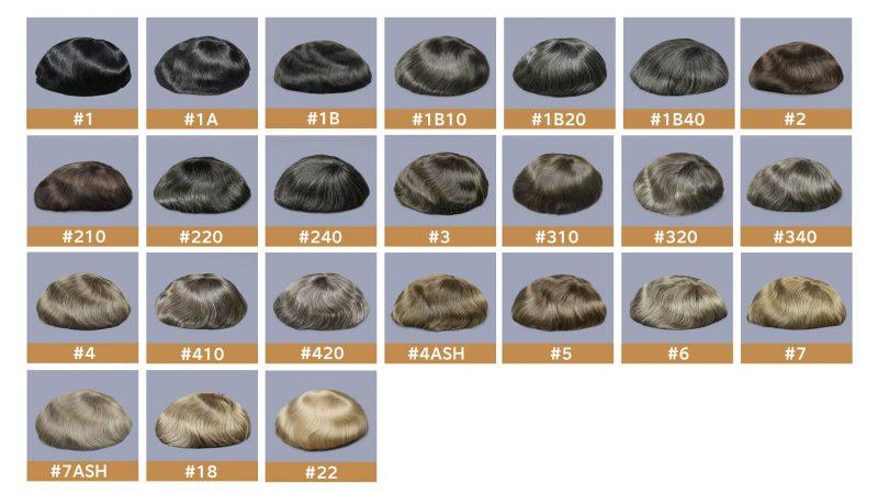 Men's toupee stock colors